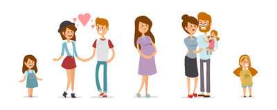 Free Small Girl, Adult Boy And Girl Couple, Pregnant Royalty Free Stock Photography - 62476327