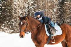 Small Girl And Horse In A Winter Stock Images