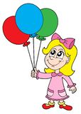 Small girl with balloons vector illustration. Small girl with balloons - vector illustration Royalty Free Stock Image