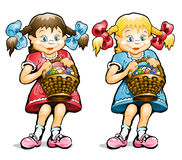 Small girl with basket of eggs Stock Photos