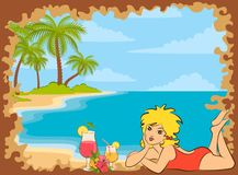 Small girl on the beach with palms Royalty Free Stock Images
