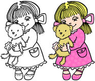 Small girl with bear Stock Photo
