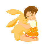 Small girl with a big bunny toy. Illustration of pretty girl hugging a bunny toy Stock Photos