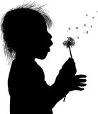 Small girl blowing on dandelion isolated on white Stock Photo