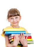 Small Girl with the Books Stock Photography