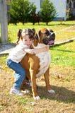 Small girl and Boxer Bulldog. Royalty Free Stock Image