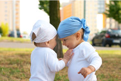 Small girl and boy Royalty Free Stock Image