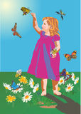 Small girl and butterflies Royalty Free Stock Photos