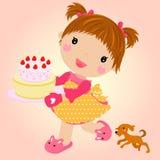 Small girl with cake celebrating birthday. Illustration of small girl with cake celebrating birthday Stock Photos