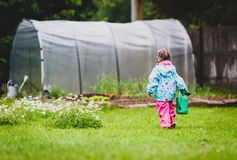 Small girl child is gardening and watering daisies in backyard. Active children are helping with home gardening and taking care of the lawn Stock Photo