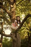 Small girl climb tree in summer garden, activity stock images