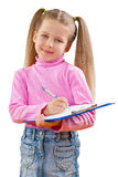 A small girl with clipboard isoalted Royalty Free Stock Image