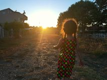 The small girl in colorful dress is on the field walking to the sunset. Stock Photo