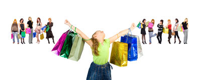 Small girl consumerism dream Royalty Free Stock Photos