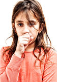Small girl coughing isolated on white Royalty Free Stock Images