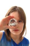 Small girl and diamond Royalty Free Stock Photos