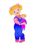 Small girl with a doll. Small girl like her doll Royalty Free Stock Images