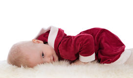 Free Small Girl Dressed As Santa, Insulation. Royalty Free Stock Photos - 31348328