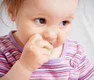 Free Small Girl Eating Food Royalty Free Stock Photography - 9127277