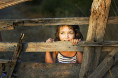 Small girl enjoy being behind an old wooden fence Royalty Free Stock Image