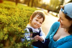 Small girl enjoying life with her mother Stock Photography