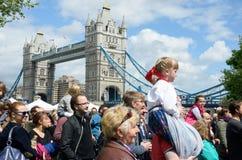Small girl enjoying Polish day near tower bridge Stock Image