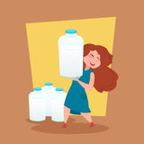 Small Girl Farmer Hold Milk Bottle Eco Farming Concept Stock Images