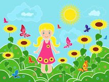 Small girl on the field among sunflowers. Small children girl on the field among sunflowers in sunny summer day, multicolor vector illustration Royalty Free Stock Image