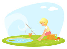 Small girl fishing in a pond Royalty Free Stock Photo
