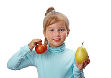 Small girl with fruit Royalty Free Stock Photos