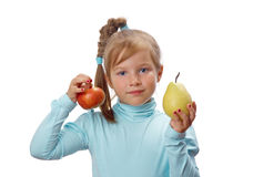 Small girl with fruit Stock Photo