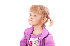 Small girl with funny face isolated on white Stock Photos