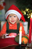Small girl with gift christmas box Royalty Free Stock Photography