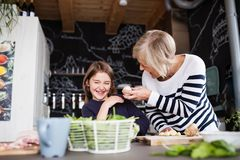 A small girl with grandmother cooking at home. A small girl with her grandmother at home, cooking. Family and generations concept Royalty Free Stock Photography