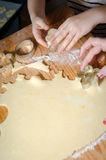 Small girl Hand making Ginger Cookie for christmass Stock Photo