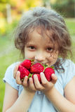 Small girl with a handful of strawberries Stock Image