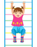 Small girl hanging on gymnastic ladder Stock Photography