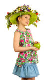 Small girl with hat of flowers Royalty Free Stock Photo