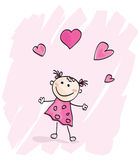 Small girl with hearts. Doodle cartoon character. Loving girl with hearts. Vector Illustration Stock Photos