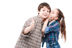 Small girl and her older brother Royalty Free Stock Photography