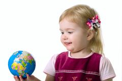 Small Girl Hold A Globe Royalty Free Stock Photography