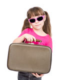 Small girl holding bag. isolated on white background Royalty Free Stock Photos
