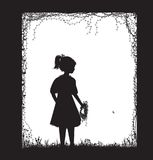 Small girl holding the field flower wreath, black and white, childhood memory,. Vector Royalty Free Stock Photography