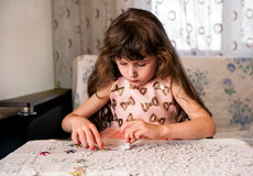 Small Girl at Home Stock Photo