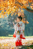 Small girl in kimono Royalty Free Stock Images