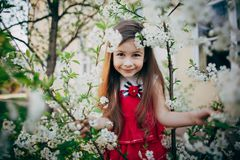Small girl looking through cherry flowers Royalty Free Stock Photography
