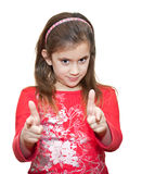 Small girl making the OK sign Royalty Free Stock Image