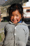 Small girl in Manang, Annapurna trail, Nepal Stock Photography