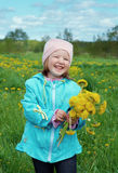 Small girl  on meadow Royalty Free Stock Photography