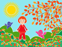 Small girl near tree in sunny autumn day Stock Images